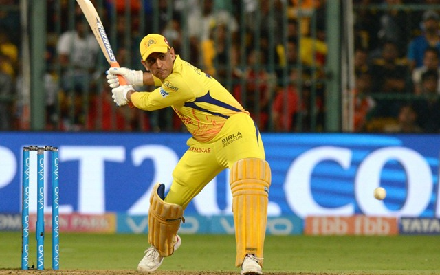 Bengaluru:  Chennai Super Kings' MS Dhoni in action during an IPL 2018 match between Royal Challengers Bangalore and Chennai Super Kings at M.Chinnaswamy Stadium in Bengaluru on April 25, 2018. (Photo: IANS)