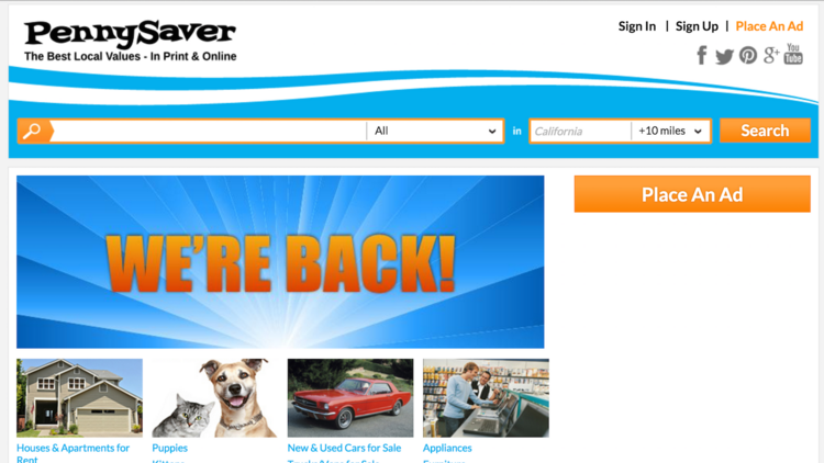 PennySaver - alternative to backpage and backpage replacement site